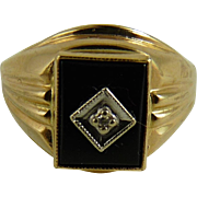 Vintage 10K Gold Onyx Diamond Ring