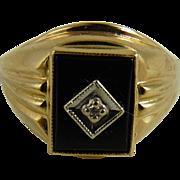 Vintage 10K Gold Onyx Diamond Ring