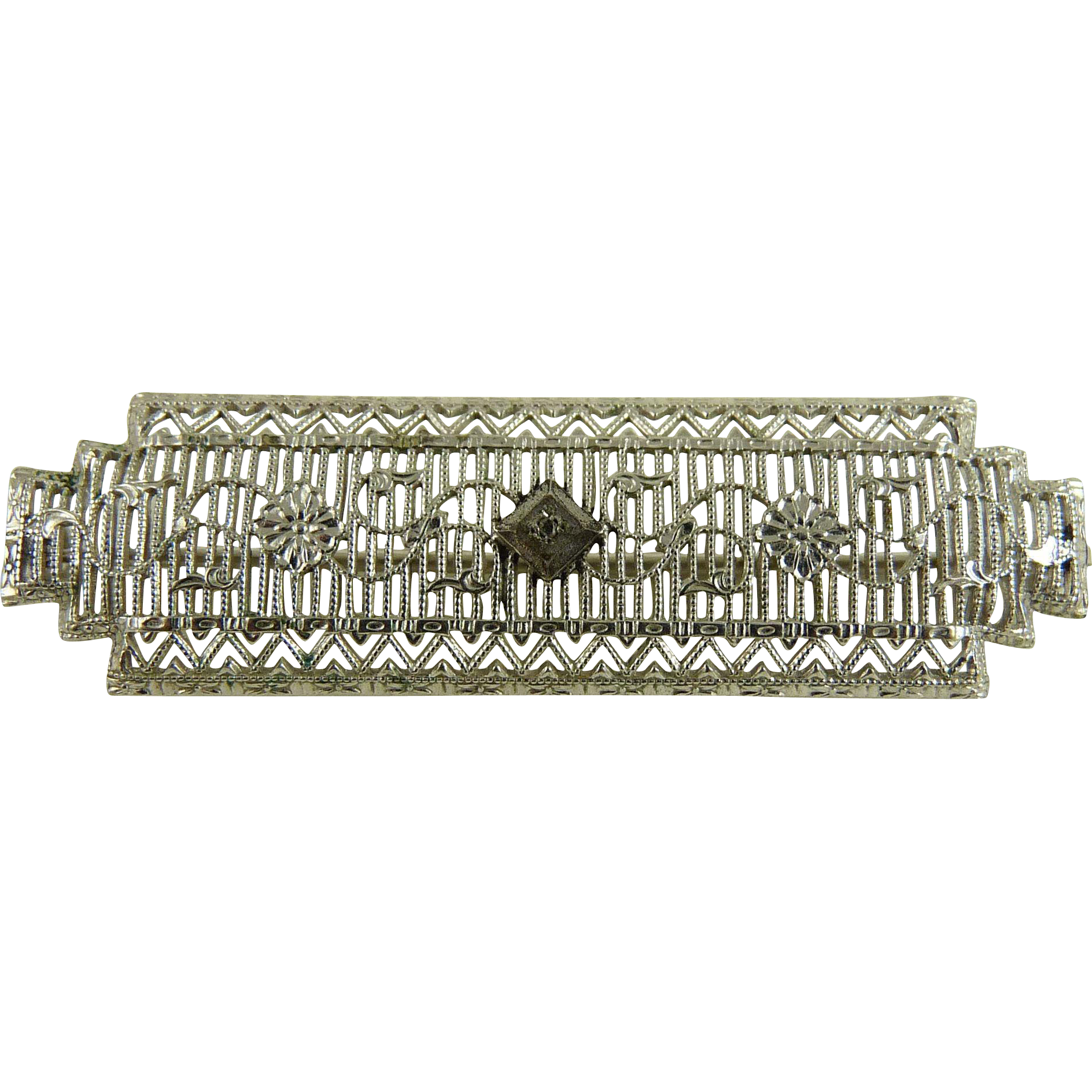 Vintage Art Deco Rhodium Filigree Bar Pin