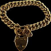Antique Victorian 9K Rose Gold Curb Link Bracelet Heart Lock