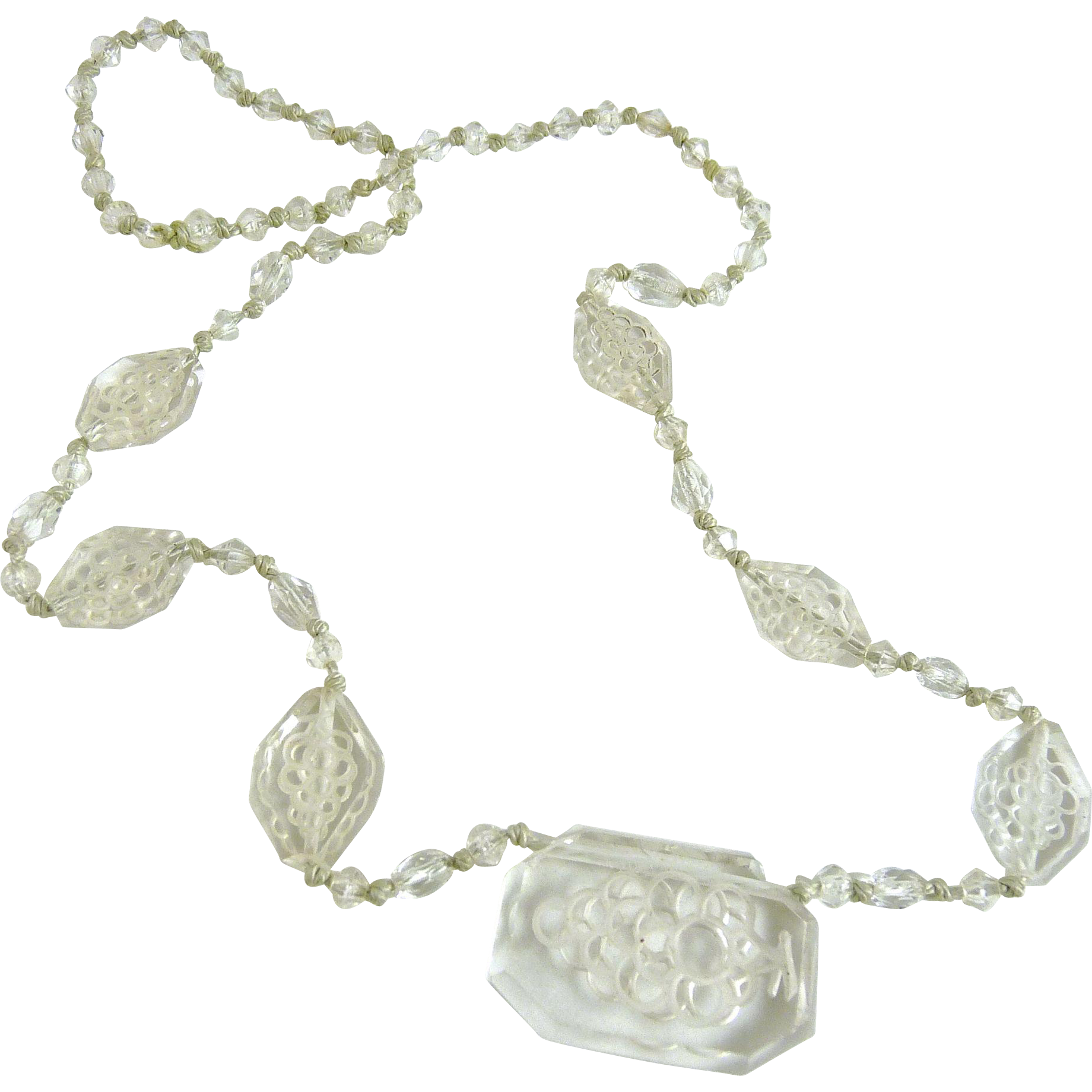 Vintage Clear Carved Glass Bead Necklace
