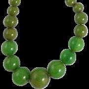 Vintage Graduated Green Bakelite Bead Necklace