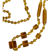 Vintage Art Deco Amber Glass Bead Flapper Necklace