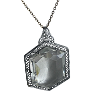 Vintage Art Deco Rhodium Filigree Glass Pendant