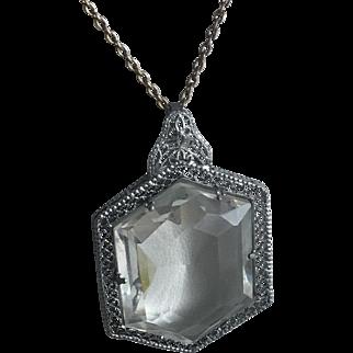Vintage Art Deco Rhodium Filigree Glass Pendant