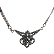 Vintage Art Deco Sterling Marcasite Amethyst Necklace
