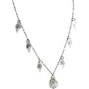 Vintage Art Deco Necklace Clear Drops