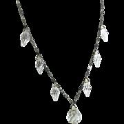 Vintage Art Deco Necklace Clear Drops