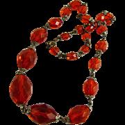 Vintage Art Deco Glass Bead Necklace Orange