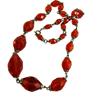 Vintage Art Deco Glass Bead Necklace Orange