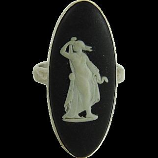 Vintage Wedgwood Black Jasperware Ring