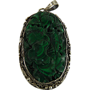 Vintage Chinese Export Pendant Carved Malachite