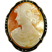 Vintage Art Deco Cameo Sterling Marcasite