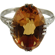 Vintage Art Deco Sterling Silver Citrine Ring