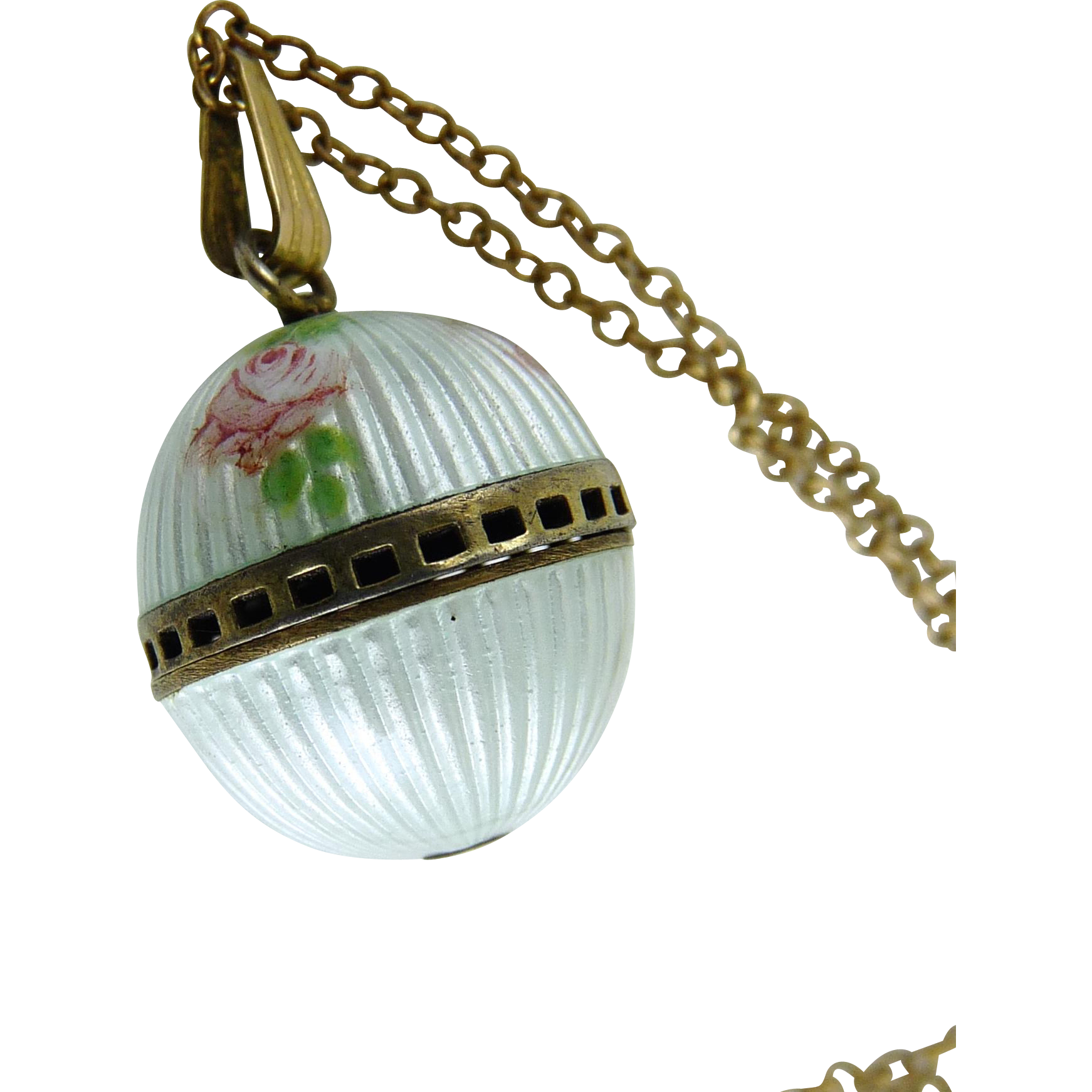 Antique Guilloche Enamel Vinaigrette Pendant