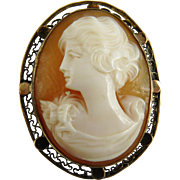 Antique Edwardian Shell Cameo 10K Rose Gold
