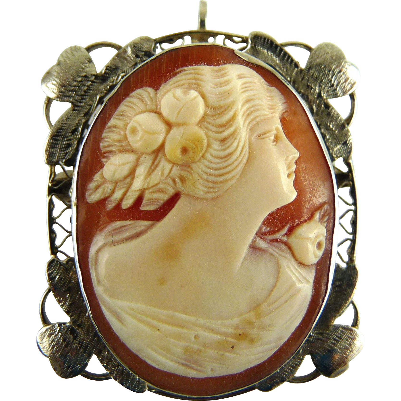 Vintage Art Deco 14K White Gold Cameo