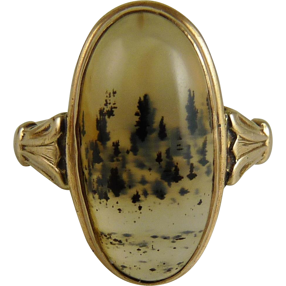 Antique Victorian Moss Agate Ring 14K