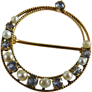 Antique Edwardian 10K Pearl Blue Topaz Circle Pin