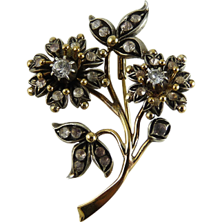 Vintage 14K and Sterling Flower Spray Pin