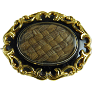 Antique Victorian Mourning Brooch Woven Hair