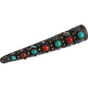 Vintage Chinese Nail Guard Pin Coral and Turquoise