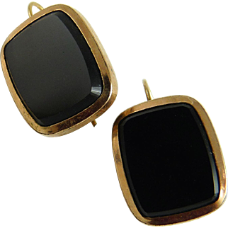 Antique Victorian 10K Rose Gold Onyx Earrings