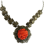 Vintage Art Deco Necklace Sterling Marcasite Faux Coral