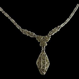 Vintage Art Deco Sterling Paste Lavalier Necklace