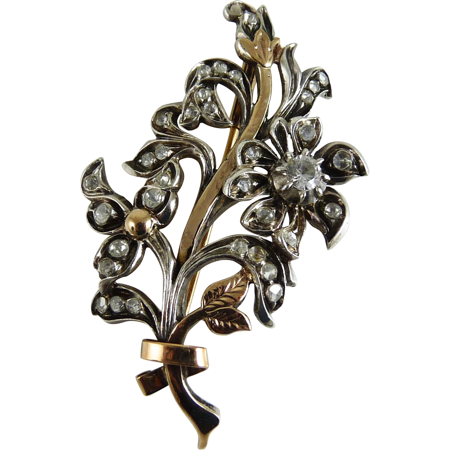 Vintage Flower Spray Brooch 14K Sterling Rock Crystal