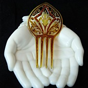 Lovely Faux Tortoiseshell Celluloid and Rhinestone Hair Comb