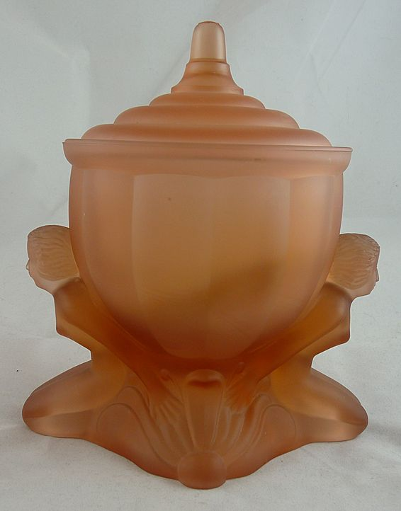 Vintage Art Deco Pink Satin Glass Dresser Jar The Dolly Sisters