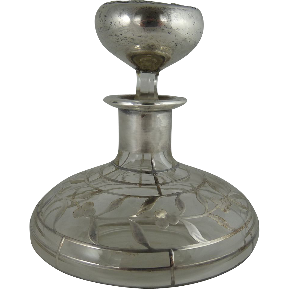 Antique Art Nouveau Silver Overlay Perfume Bottle