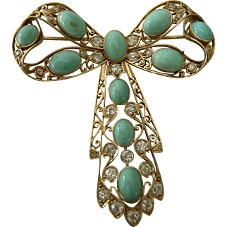 Persian Turquoise & Diamond Brooch
