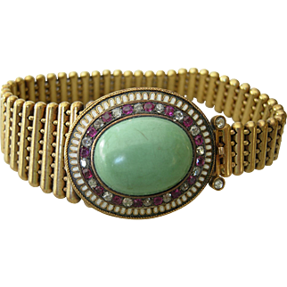 Victorian Ruby Diamond & Persian Turquoise 14kt Gold Bracelet