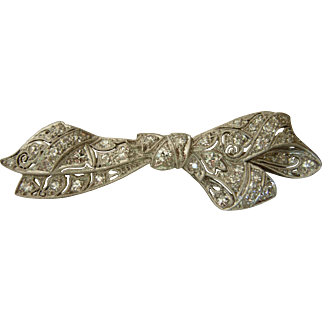 Edwardian Platinum Diamond Bow Brooch