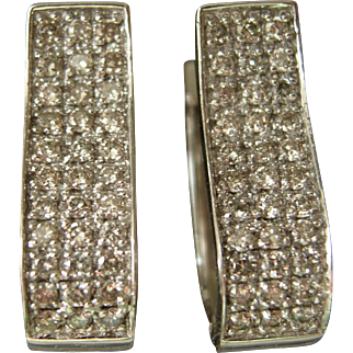 Pretty Diamond Pave Hoop Earrings 14kt wg