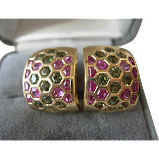 Green & Pink Sapphire Earrings 18kt Gold