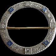 Edwardian Platinum Topped Diamond & Sapphire Filigree Brooch 14kt