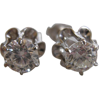 Stunning Pair of Diamond Ear Studs 1ctw