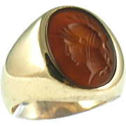 Antique 14K Yellow Gold Carnelian Intaglio Ring