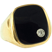 Vintage 14K Man's Onyx and Diamond Ring