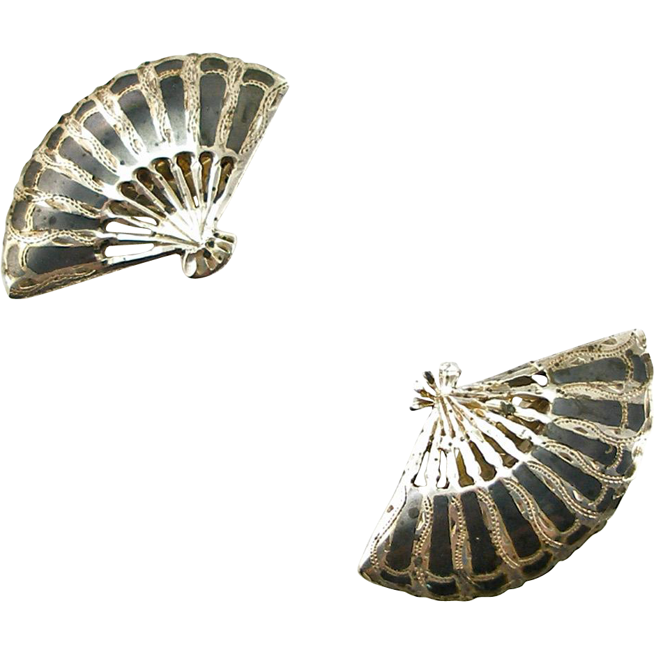 Vintage Nielloware Siam Sterling Fan Clip Earrings