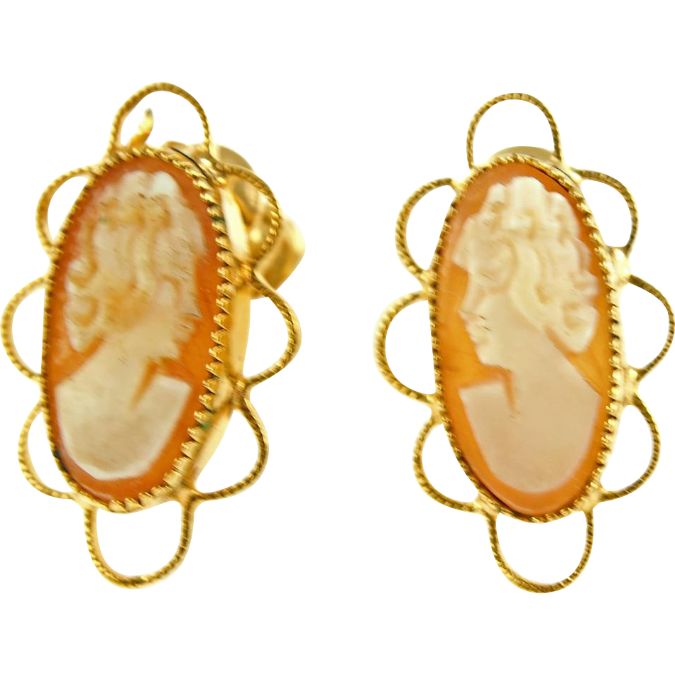Vintage cRco Gold Filled Shell Cameo Earrings