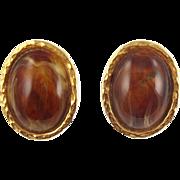 Vintage Les Bernard Faux Tortoise Cabochon Earrings