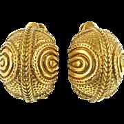 Vintage Gold Tone Half Hoop Screw/Clip Earrings
