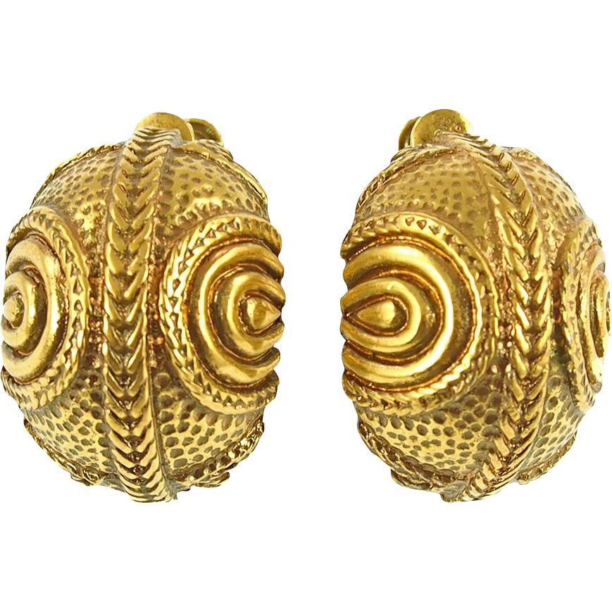 Vintage Gold Tone Half Hoop Screw/Clip Earrings