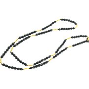 Vintage Jay Strongwater Black & Gold Beaded Necklace