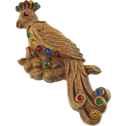 Large Vintage Wooden Bird with Colored Rhinestones Pin