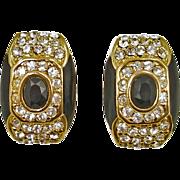 Vintage Black Enamel and Rhinestone Clip Earrings